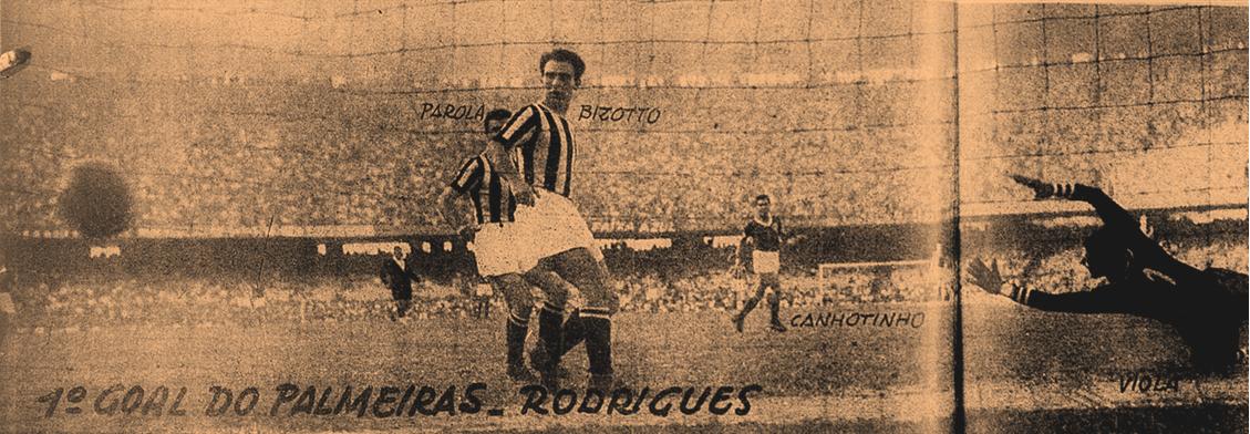 Momento do primeiro gol do Verdão, marcado por Rodrigues