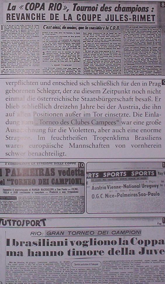 Jornais estrangeiros da época também citaram a conquista palmeirense